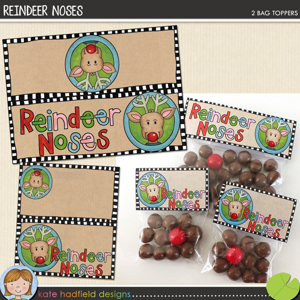 "Free scrapbook labels ""Reindeer noses"" from Kate Hadfield Designs"