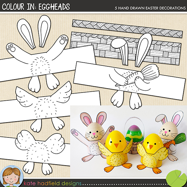 Super cute and easy Easter egg-wrap craft for kids! | printables from Kate Hadfield Designs
