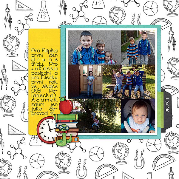 Back to school digital scrapbooking page | school scrapbook layout ideas | Kate Hadfield Designs creative team layout by Dagi