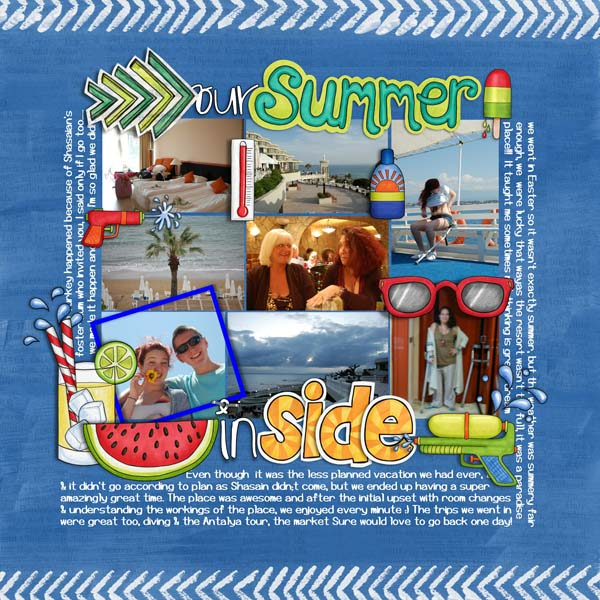 Summer digital scrapbooking page | scrapbook layout ideas | Kate Hadfield Designs creative team layout by Cynthia