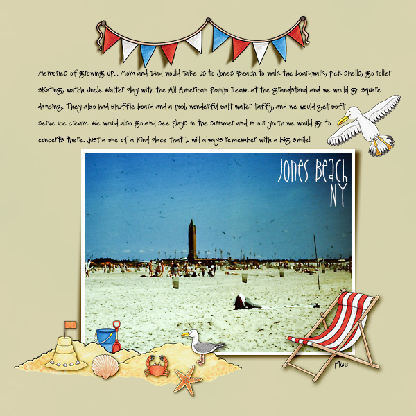 "Digital scrapbook layout created with ""Beside the Seaside"" from Kate Hadfield Designs! 