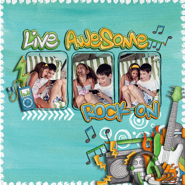 Digital scrapbook layout created with the FREE digital scrapbooking template from Kate Hadfield Designs! | layout by Iva