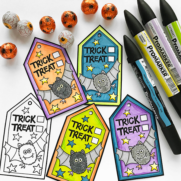 Colour-In Trick or Treat gift tags – fun Halloween gift tags to print and colour! Make your own tags by printing onto white paper and colouring in, or print on coloured paper, then just cut out for instant tags! Free printable from Kate Hadfield Designs.