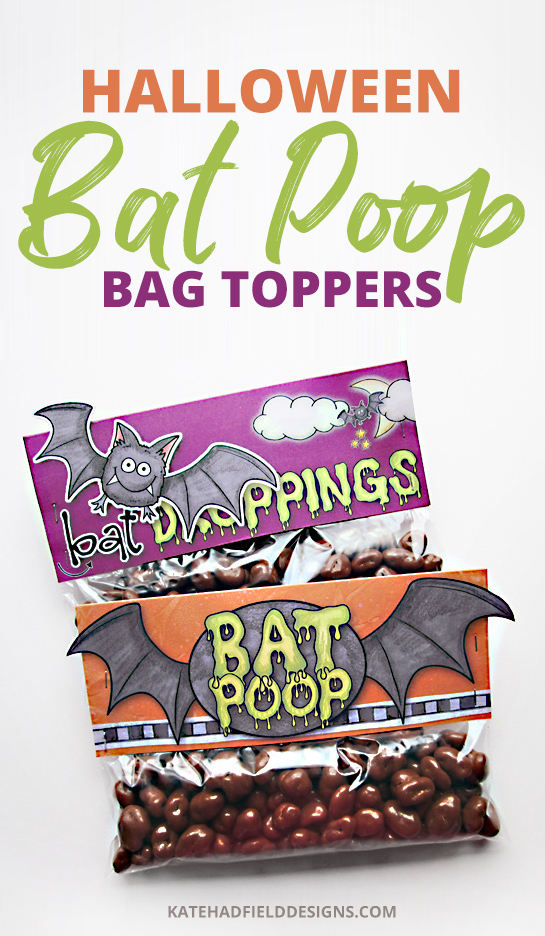 Here's a fun new printable bag topper for Halloween – sure to make many a youngster giggle (or cringe!) – Bat Poop Baggies! Simply print these free bag toppers and affix to a bag of chocolate raisins for a gruesome Halloween gift! Great for Halloween favours and parties!