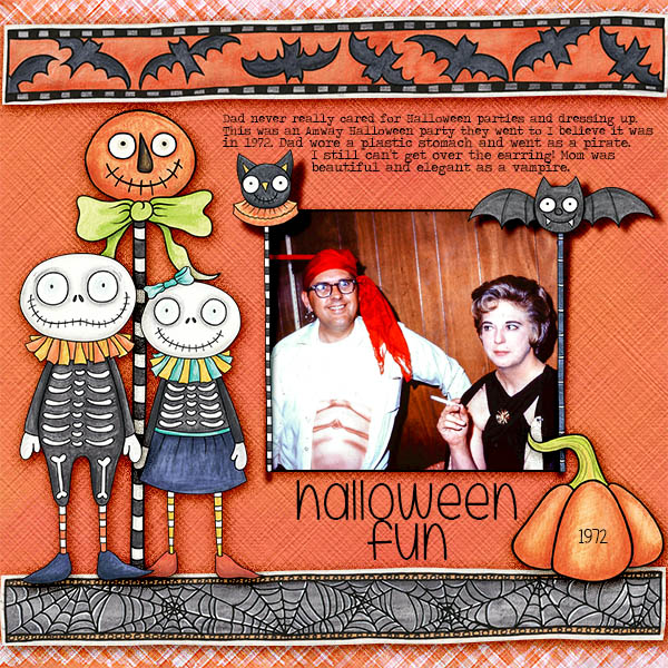 Halloween scrapbooking ideas! Halloween digital scrapbook layout by Kate Hadfield Designs creative team member Christa