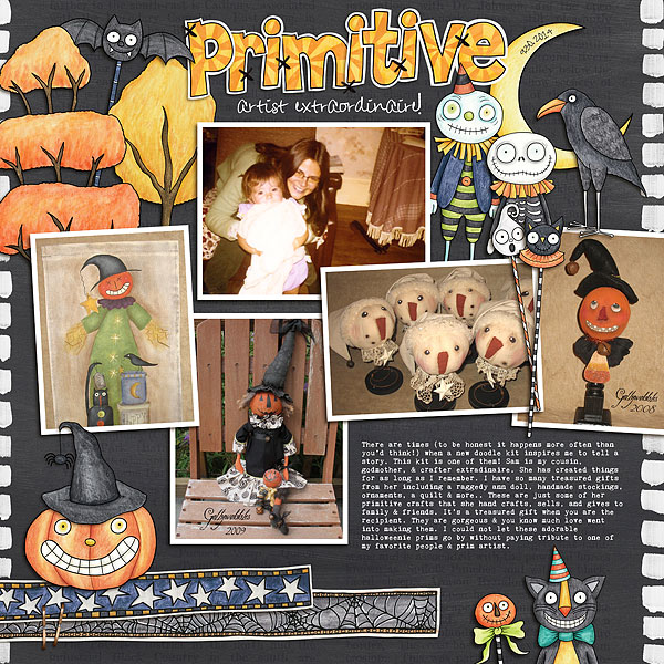 Halloween scrapbooking ideas! Halloween digital scrapbook layout by Kate Hadfield Designs creative team member Nicole