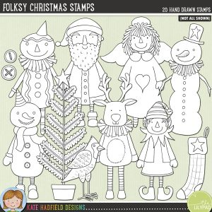 Folksy Christmas Stamps