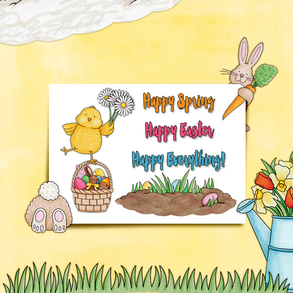 Easter scrapbook layout ideas | digital scrapbooking page by Christa