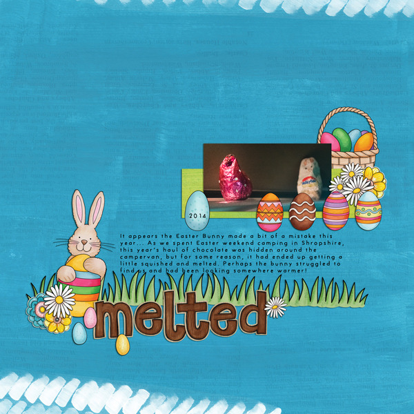 """""""Melted"""" Easter scrapbook layout ideas 