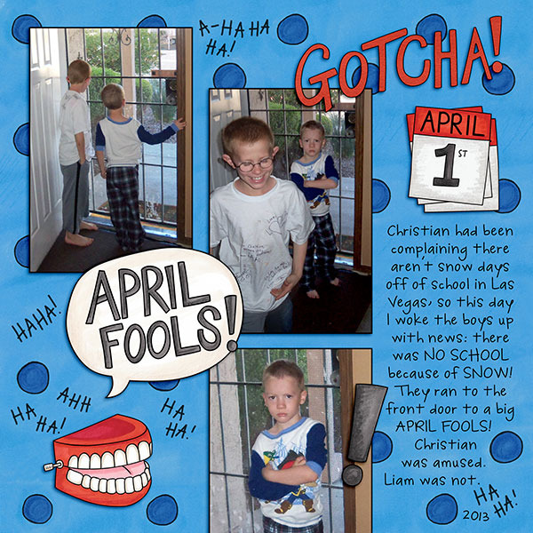 April Fools Day digital scrapbooking page | scrapbook layout ideas | Kate Hadfield Designs creative team layout by Jenna