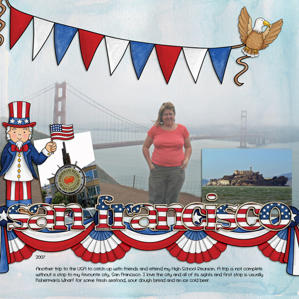 """Digital scrapbook layout created with """"Star Spangled"""" from Kate Hadfield Designs! 