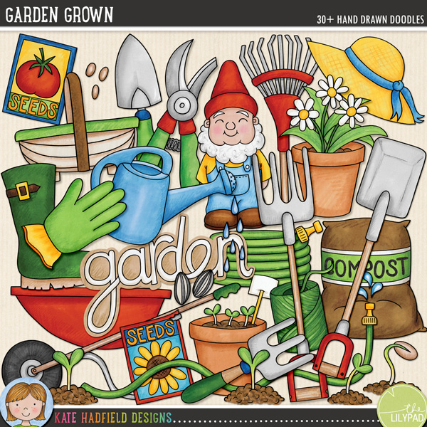 Garden Grown doodles by Kate Hadfield Designs