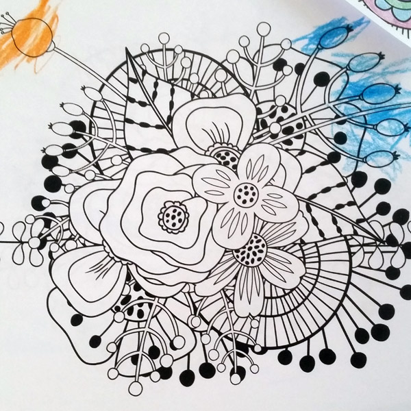 floral colouring pages