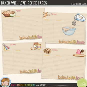 Baked With Love: recipe cards FREEBIE
