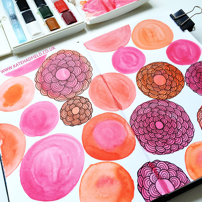 Sketchbook exercises and art journal pages inspired by Lisa Congdon's Sketchbook Explorations course -this is a really fun course to jump-start your creativity! sketchbook drawing | mixed media | art journal pages from Kate Hadfield