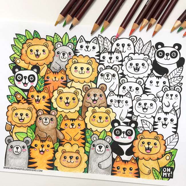 Lions and Tigers and Bears colouring page from Kate Hadfield Designs