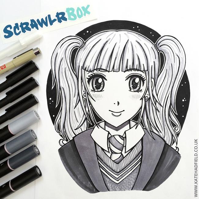 ScrawlrBox April Manga Me challenge - Kate Hadfield Designs
