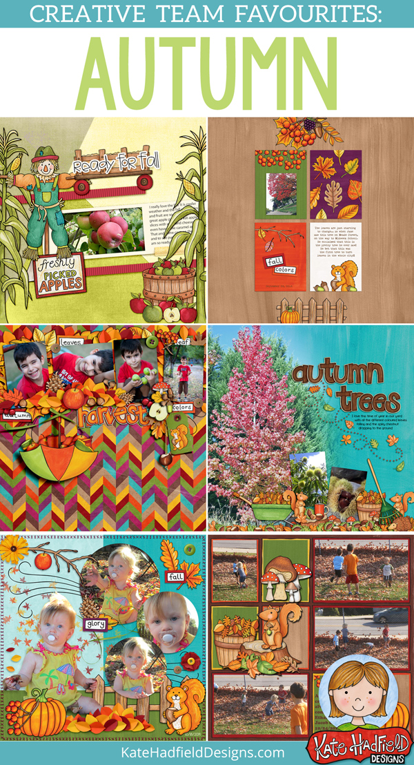 Autumn / Fall favourite scrapbook pages from the Kate Hadfield Designs Creative Team! Autumn scrapbooking inspiration! #katehadfielddesigns