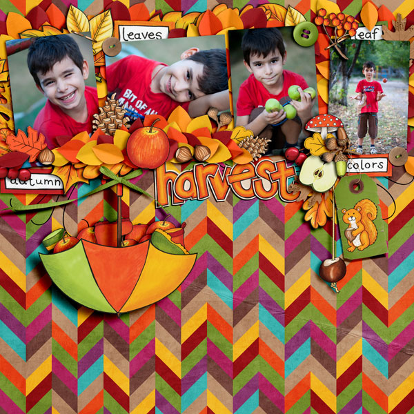 "Kate Hadfield Designs Creative Team ""Autumn & Fall"" Favourites: Digital scrapbook layout by Iva"