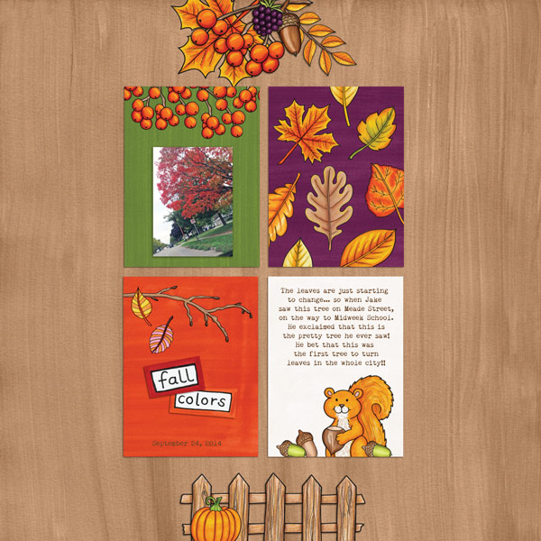 "Kate Hadfield Designs Creative Team ""Autumn & Fall"" Favourites: Digital scrapbook layout by Rebecca"