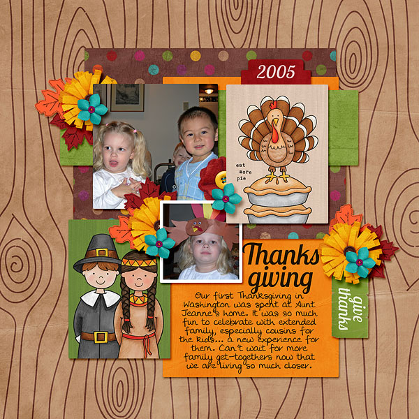 Ideas for Thanksgiving scrapbook pages! Kate Hadfield Designs Creative Team Thanksgiving Favourites: Digital scrapbook layout by Bethany