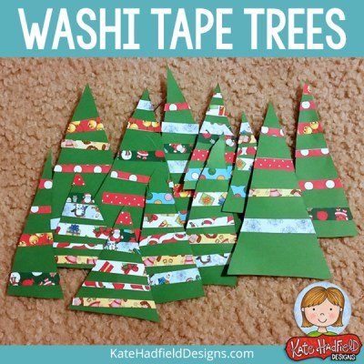 Washi Tape Christmas Tree craft for kids