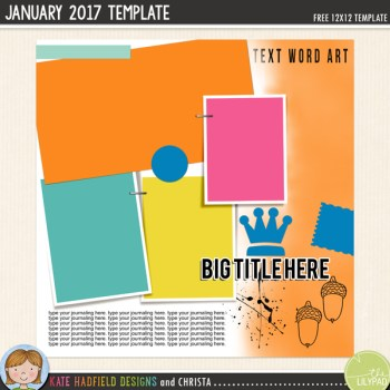 Free Digital Scrapbooking template | January challenge
