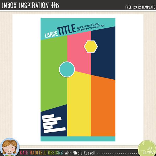Inbox Inspiration #8 FREE digital scrapbooking template / scrapbook sketch from Kate Hadfield Designs
