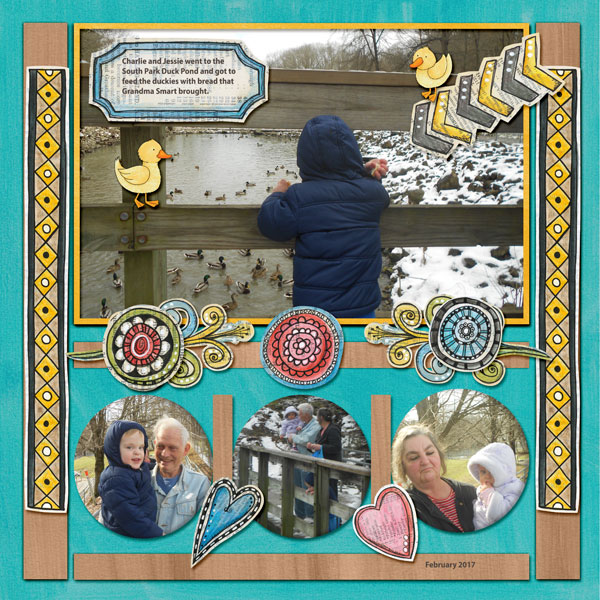 Digital scrapbook layout created with the FREE digital scrapbooking template from Kate Hadfield Designs! | layout by CT member Amy