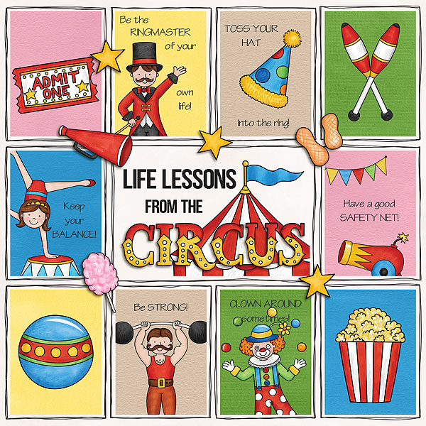Circus digital scrapbook page | scrapbook layout ideas | Kate Hadfield Designs Creative Team member layout by Melanie