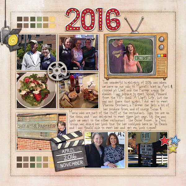 2016 Highlights digital scrapbooking page | scrapbook layout ideas | Kate Hadfield Designs creative team layout by Christa