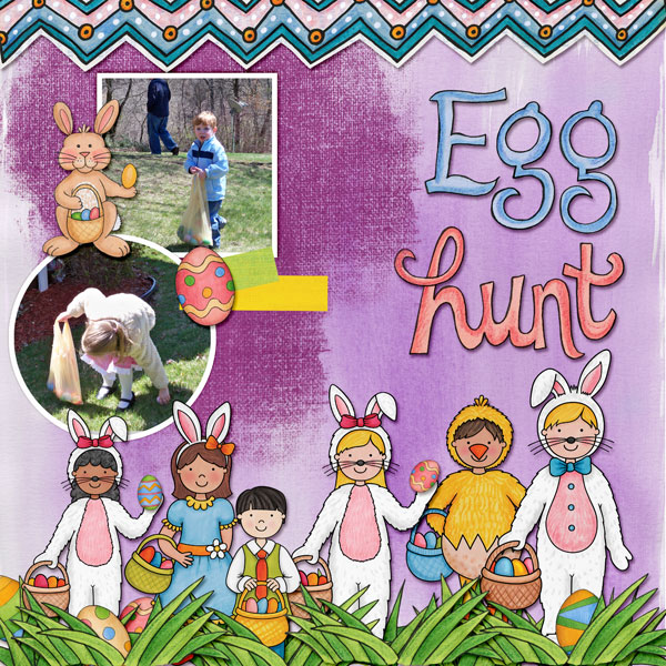 Digital scrapbook page created with the Egg Hunters digital scrapbook kit from Kate Hadfield Designs! Layout by Creative Team member Amy