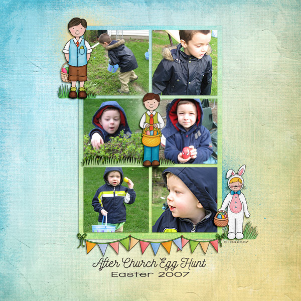 Digital scrapbook page created with the Egg Hunters digital scrapbook kit from Kate Hadfield Designs! | Layout by Creative Team member Keela