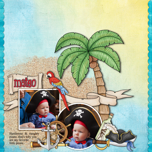 Digital scrapbook layout created with the FREE digital scrapbooking template from Kate Hadfield Designs! | layout by CT member Karen