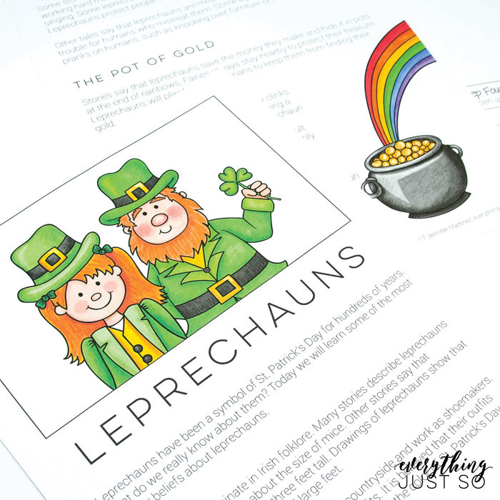 Leprechaun Writing Unit from Everything Just So | illustrations by Kate Hadfield Designs