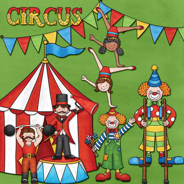 """Circus"" photo-less digital scrapbook layout 