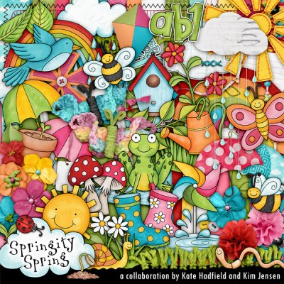 Springity Spring digital scrapbooking kit by Kate Hadfield and Kim Jensen - available exclusively at The Lilypad!