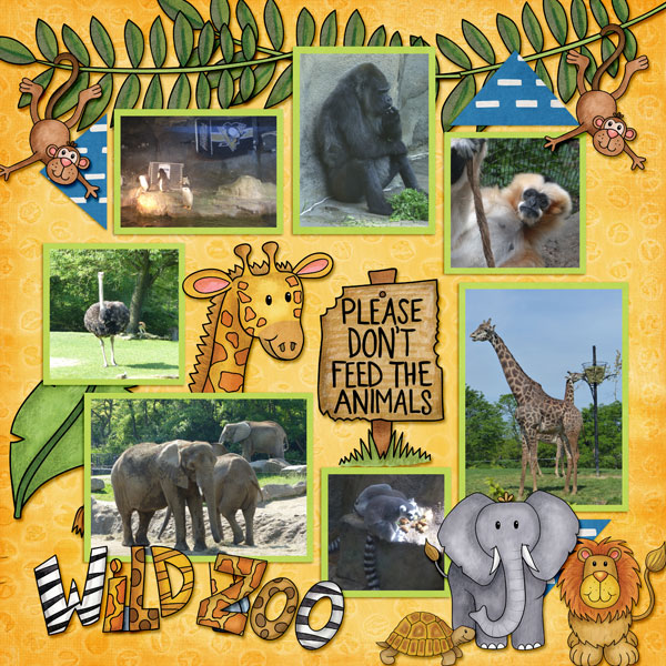 "Zoo digital scrapbook page created with ""Safari Malarky"" wild animal digital scrapbooking kit by Kate Hadfield Designs 