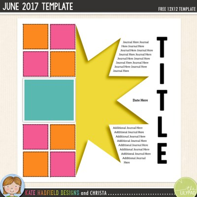 Free Digital Scrapbooking Template / scrapbook sketch from Kate Hadfield Designs! Click through to see scrapbook pages created using this free template!