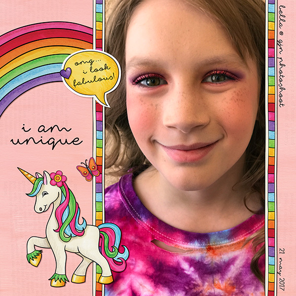 """Fun digital scrapbook page created with """"Over the Rainbow"""" digital scrapbooking kit by Kate Hadfield Designs 
