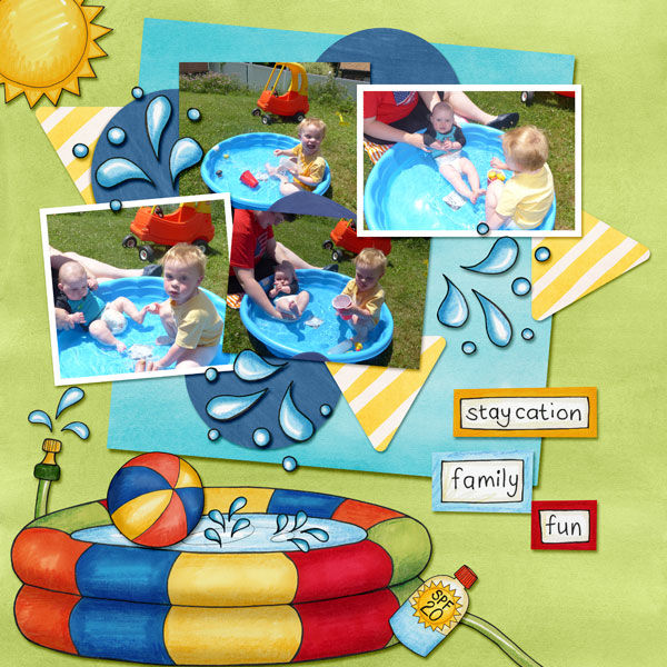 "Summer digital scrapbook page created with ""Summer Staycation"" digital scrapbooking kit by Kate Hadfield Designs 