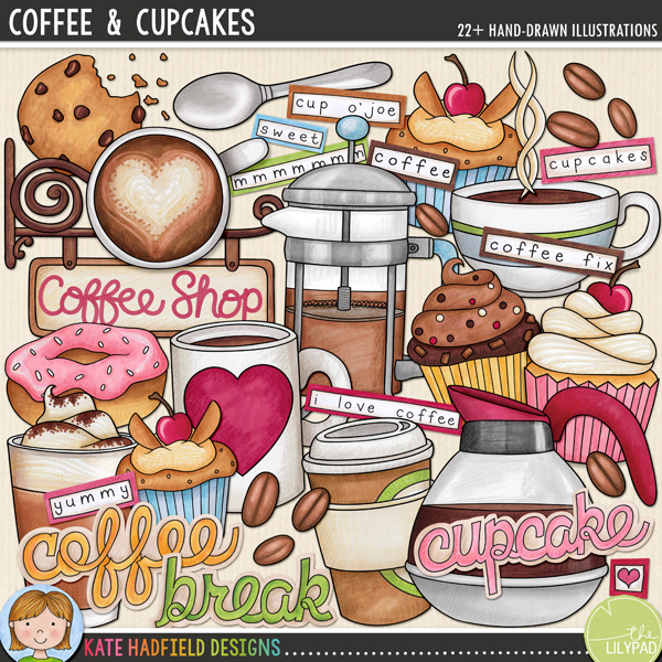 Coffee & Cupcakes digital scrapbooking elements / cute coffee clip art! Hand-drawn doodles, clip art and line art for digital scrapbooking, crafting and teaching resources from Kate Hadfield Designs! Click through to see scrapbook pages and projects created using these illustrations!