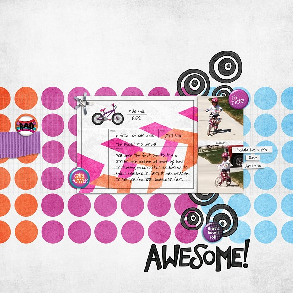 Teen girl scrapbook page created with 'Audaciously Awesome' digital scrapbooking kit by Kim Jensen and Kate Hadfield – fun ideas for scrapbook pages! Layout by Creative Team member Monica