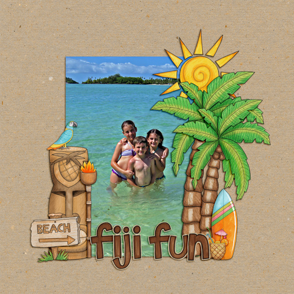 "Tropical vacation scrapbook page created with ""Island Paradise"" digital scrapbooking kit by Kate Hadfield Designs - fun ideas for vacation scrapbook pages! Layout by Creative Team member Kirstie"