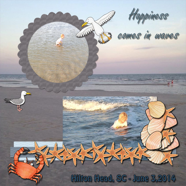 """Beach scrapbook page created with """"Beside the Seaside"""" digital scrapbooking kit by Kate Hadfield Designs – fun ideas for summer scrapbook pages! Layout by Creative Team member Jenni"""