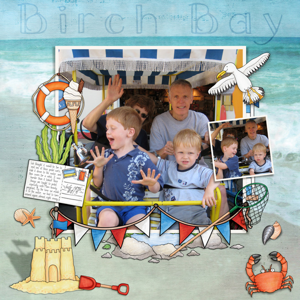 "Beach scrapbook page created with ""Beside the Seaside"" digital scrapbooking kit by Kate Hadfield Designs – fun ideas for summer scrapbook pages! Layout by Creative Team member Molly"