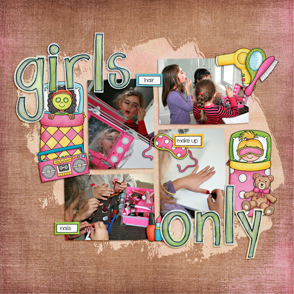Slumber party / sleepover scrapbook page created with 'PJ Party' digital scrapbooking kit by Kate Hadfield Designs – fun ideas for scrapbook pages! Layout by Creative Team member Kirstie