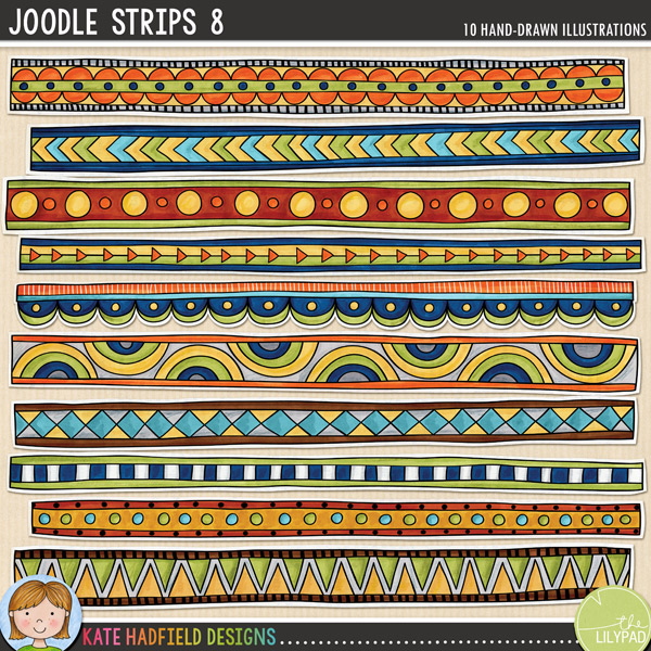 Joodle Strips 8 - Mixed media digital scrapbooking elements / ideal for art journaling! Hand-drawn illustrations for digital scrapbooking, crafting and teaching resources from Kate Hadfield Designs!