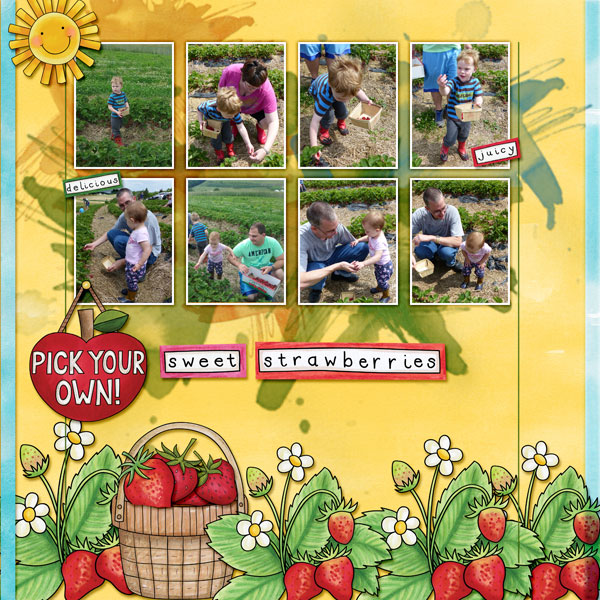 Digital scrapbook layout created with the FREE digital scrapbooking template from Kate Hadfield Designs! Ideas for scrapbook pages, layout by Creative Team member Amy