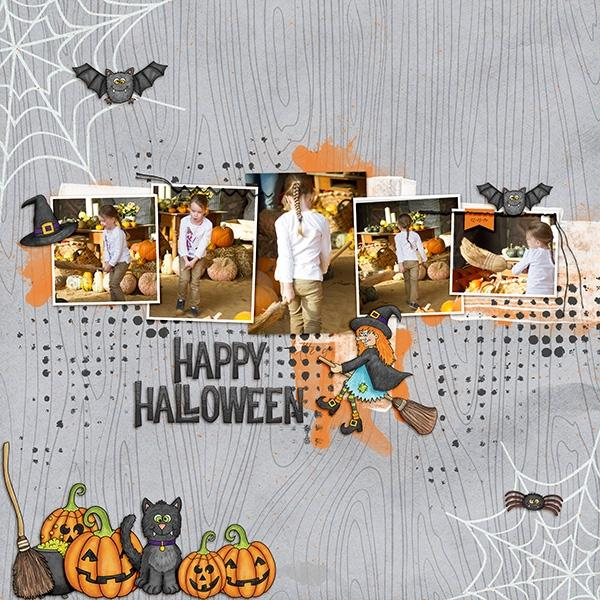 "Halloween scrapbook page created with the ""Oogly Boogly"" digital scrapbooking kit from Kate Hadfield Designs – fun ideas for Halloween scrapbook pages! #digitalscrapbooking Layout created by Creative Team member Birgit"